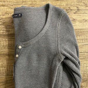 Grey A &F Long Sleeve Henley